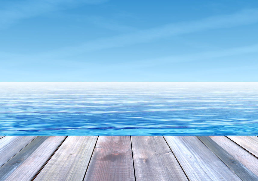 Concept or conceptual old wood or wooden deck on coast of exotic blue clear sea or ocean waves and sky vacation or tourism background banner